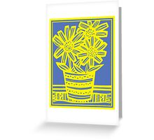 Chinnis Flowers Yellow Blue Greeting Card