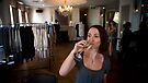 Ester Sipping Champagne by Lisa Defazio