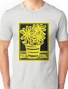Bynoe Flowers Yellow Black Unisex T-Shirt
