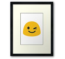 Winking Face Google Hangouts / Android Emoji Framed Print
