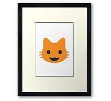 Smiling Cat Face With Open Mouth Google Hangouts / Android Emoji Framed Print