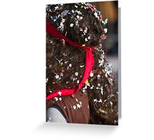 confetti on the head at the carnival Greeting Card