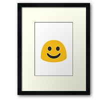 White Smiling Face Google Hangouts / Android Emoji Framed Print