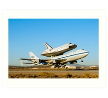 Space Shuttle Endeavour Departs Edwards AFB on 747 SCA Art Print