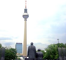 Berlin - The statues of Karl Marx and Friedrich Engels in Marx-Engels-Forum  by mmarco1954