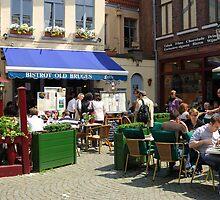 Cafe Scene in Bruges, Belgium by Dennis Smith