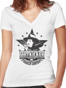 Shitkicker Tobacco Co. Women's Fitted V-Neck T-Shirt