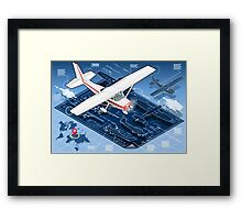 Isometric Infographic Airplane Blue Print Framed Print