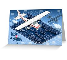 Isometric Infographic Airplane Blue Print Greeting Card