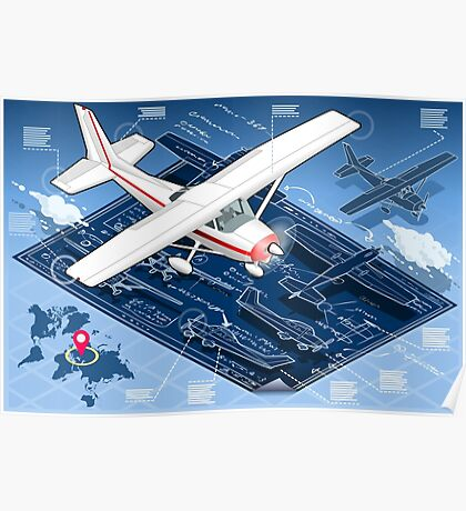 Isometric Infographic Airplane Blue Print Poster
