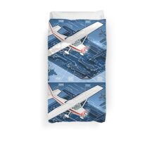 Isometric Infographic Airplane Blue Print Duvet Cover
