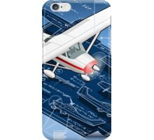 Isometric Infographic Airplane Blue Print iPhone Case/Skin