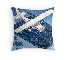 Isometric Infographic Airplane Blue Print Throw Pillow