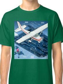 Isometric Infographic Airplane Blue Print Classic T-Shirt