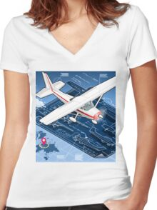 Isometric Infographic Airplane Blue Print Women's Fitted V-Neck T-Shirt