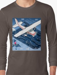 Isometric Infographic Airplane Blue Print Long Sleeve T-Shirt