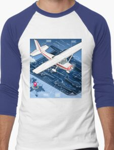 Isometric Infographic Airplane Blue Print Men's Baseball ¾ T-Shirt