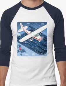 Isometric Infographic Airplane Blue Print Men's Baseball ¾ T-Shirt