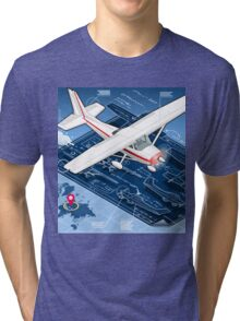 Isometric Infographic Airplane Blue Print Tri-blend T-Shirt
