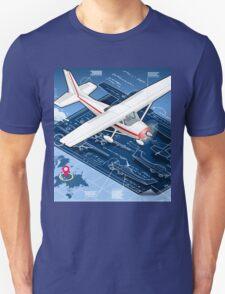 Isometric Infographic Airplane Blue Print T-Shirt