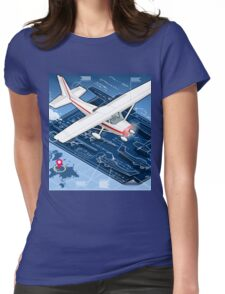 Isometric Infographic Airplane Blue Print Womens Fitted T-Shirt