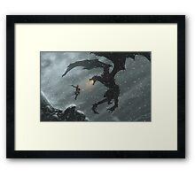 The Elder Scrolls V - Skyrim, Warrior Vs Dragon Framed Print