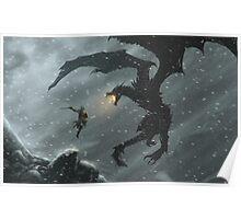 The Elder Scrolls V - Skyrim, Warrior Vs Dragon Poster