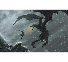 The Elder Scrolls V - Skyrim, Warrior Vs Dragon Photographic Print