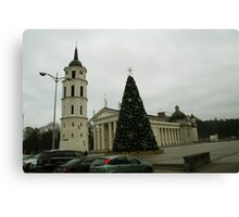 Vilnius preparing for Christmas Canvas Print