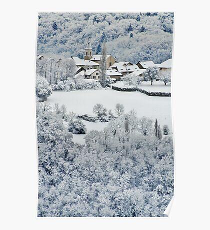 Snow on Musièges village Poster