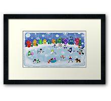 Snowy Night Frozen Fun  Framed Print