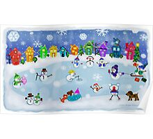 Snowy Night Frozen Fun  Poster