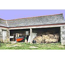 Barn Bales and Boat Photographic Print