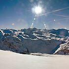 Panoramic photograph of the French Alps taken from Val d'Isere by Peak Photographics