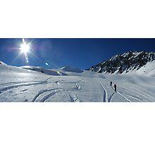 Hiking past ski tracks, Val d'Isere Photographic Print
