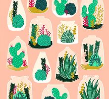Terrariums - Cute little planters for succulents in repeat pattern by Andrea Lauren by Andrea Lauren