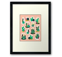 Terrariums - Cute little planters for succulents in repeat pattern by Andrea Lauren Framed Print