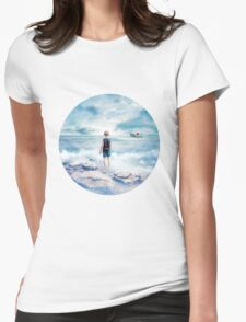 Waiting at the water's edge Womens Fitted T-Shirt