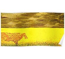 Cow in a yellow field... Poster