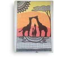 Giraffe Family Sunset Canvas Print