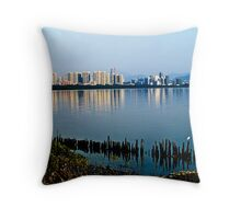 The thriving city and the lonely egret Throw Pillow