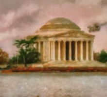 Dawn Over The Jefferson Memorial Sticker