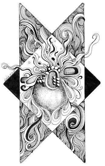 Doodle drawing, Lines and Swirls, Black and White, Ink by Danielle J. Scott (Smith)