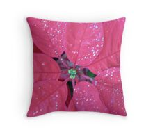 POINTSETTIA with Glitter  Throw Pillow