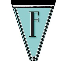Manhattan 1920s Deco Blues Banner… Monogram letter initial F by CecelyBloom
