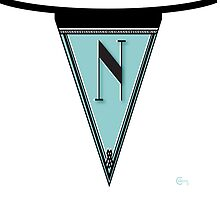 Manhattan Deco Blues 1920s Monogram Banner...letter N by CecelyBloom