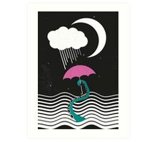 The octopus and the sea (on a rainy day) Art Print