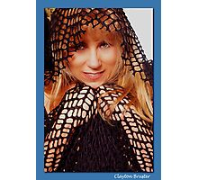 Beatuful Blond in Mesh Cape with Hood Photographic Print