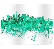 New York skyline in green watercolor on white background Poster