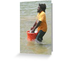 Hauling in Fish in Tobago Greeting Card